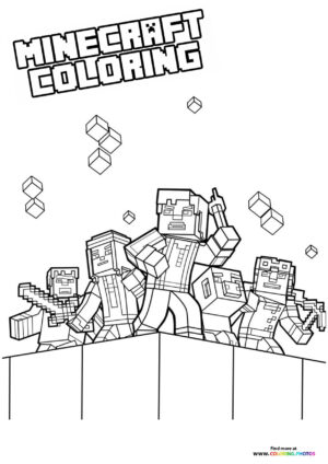 Minecraft universe at war coloring page