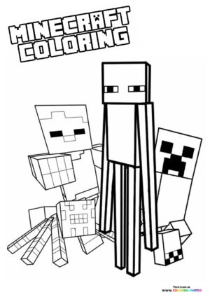 Minecraft enemys coloring page