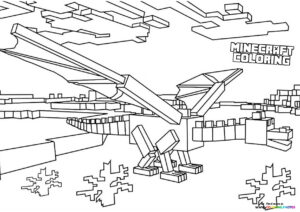 Minecraft Dragon flying coloring page