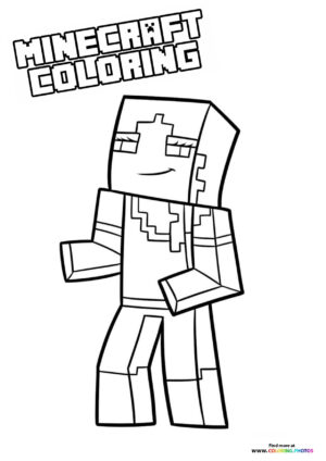 Minecraft girl character coloring page