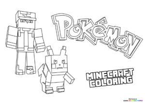 Minecraft Pokemon universe coloring page