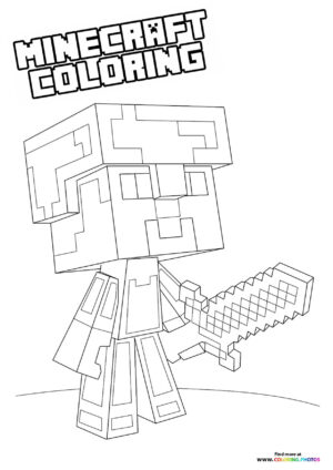 Minecraft mini character with a sword coloring page