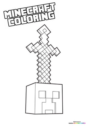Minecraft sword in a stone coloring page