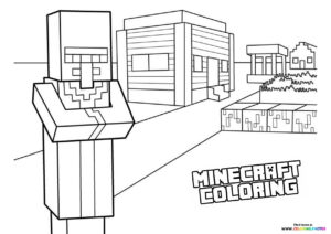 Minecraft town coloring page
