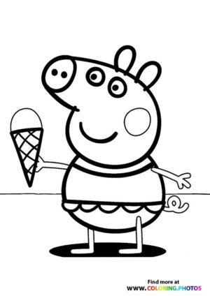 Peppa Pig Ice-cream coloring page
