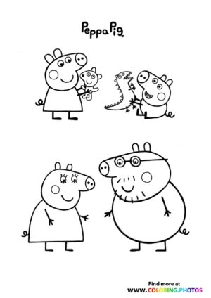 Peppa Pig with family coloring page