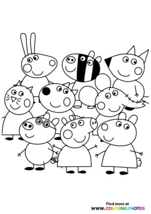 Peppa Pig and friends coloring page