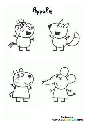 Peppa Pig with friends coloring page