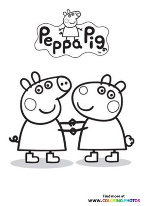 Peppa Pig and Suzzy Sheep coloring page