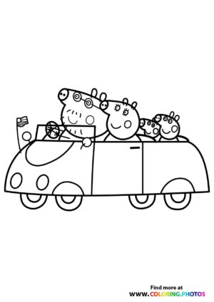 Peppa Pig driving with family coloring page
