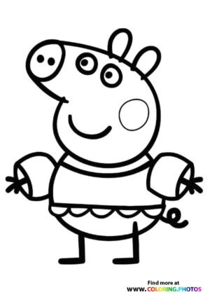 Peppa Pig swimming coloring page