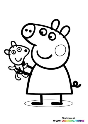 Peppa Pig with teddy bear coloring page