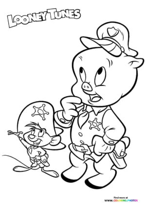 Porky Pig and Speddy coloring page
