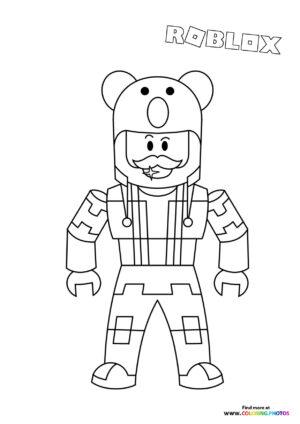Bear character coloring page