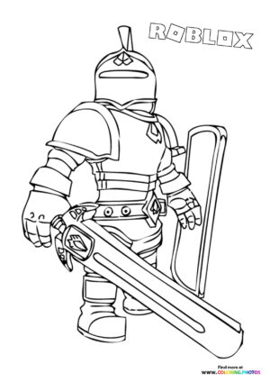 Knight character coloring page