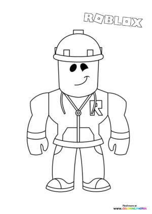 Worker character coloring page