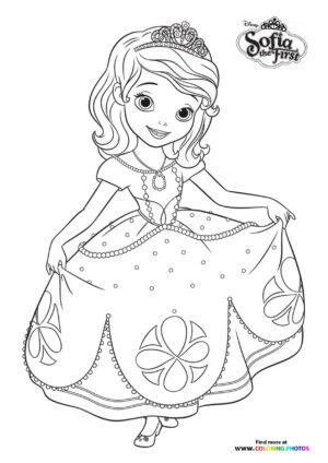 Sofia the first dancing coloring page