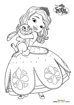 Sofia the first huging Clover coloring page