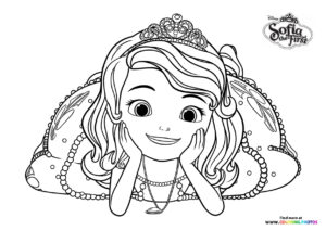 Sofia the first posing for picture coloring page