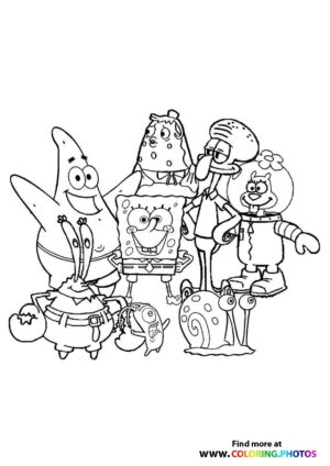 SpongeBob with friends coloring page