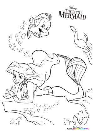 Ariel and Flounder swimming coloring page