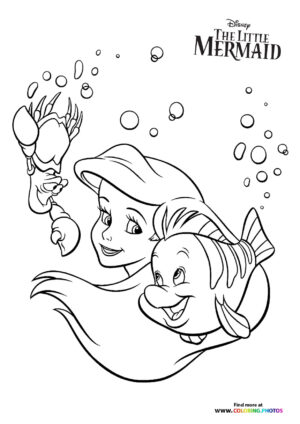 Ariel, Sebastian and Flounder playing coloring page