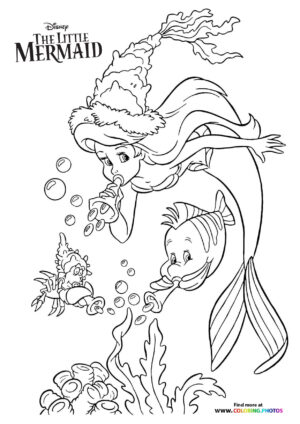 Ariel, Sebastian and Flounder playing with bubbles coloring page