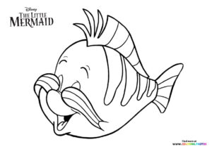 Flounder from The Little Mermaid coloring page