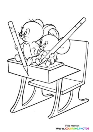 Tom and Jerry and Nibbles coloring page