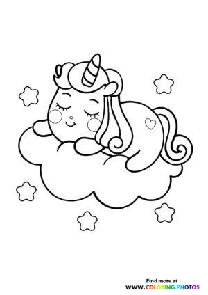 Unicorn sleeping on a cloud