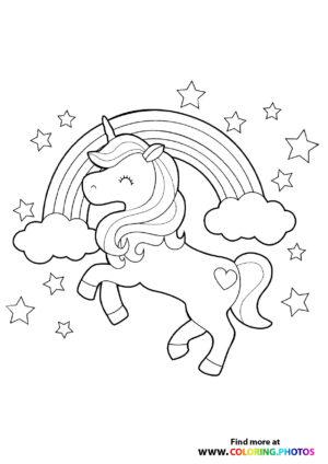 Unicorn with a rainbow