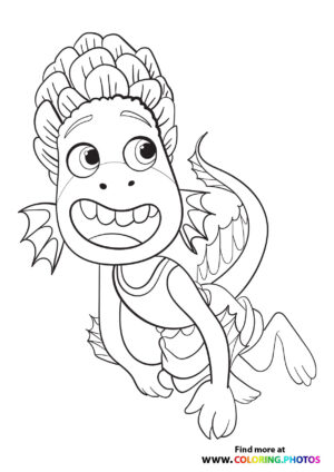 Monster Alberto swimming in the sea coloring page