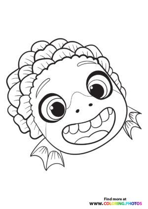Cute Luca portrait coloring page